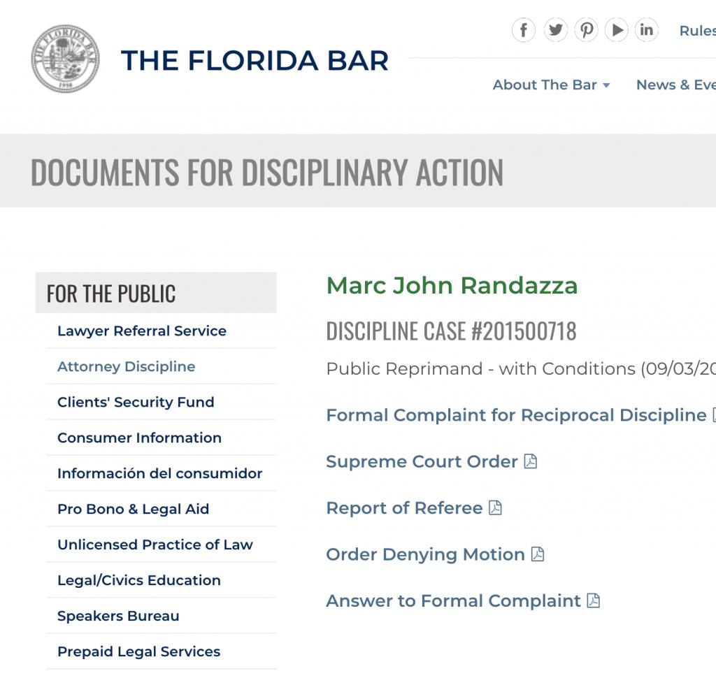 Marc John Randazza DISCIPLINE CASE #201500718
