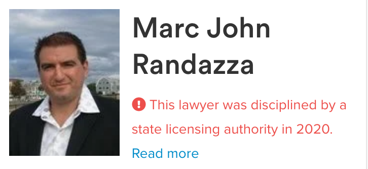 Marc Randazza disciplined by a state licensing authority in 2020