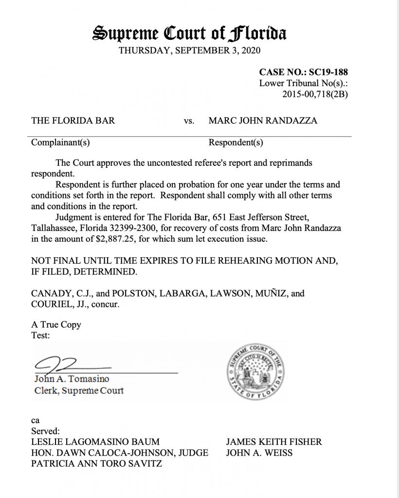 Supreme Court of Florida against Marc Randazza