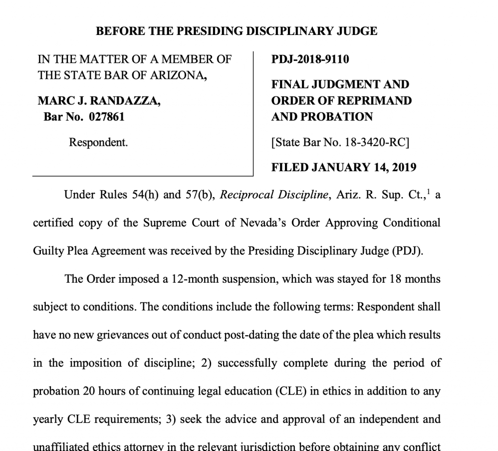 THE STATE BAR OF ARIZONA against MARC J. RANDAZZA